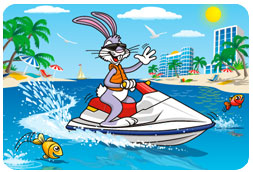 Easter Bunny on Vacation Postcard